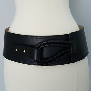 Streets Ahead Black Braided Leather Belt 21200